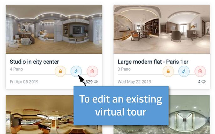 to edit the virtual tour in the web app